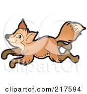 Royalty Free RF Clipart Illustration Of A Young Brown Fox Running by Lal Perera