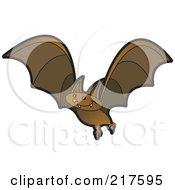 Royalty Free RF Clipart Illustration Of A Brown Vampire Bat In Flight