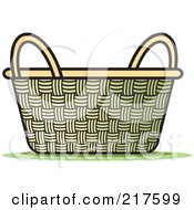 Royalty Free RF Clipart Illustration Of A Wicker Basket With Handles