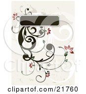 Clipart Picture Illustration Of A Flowering Green Plant With Red Blooms Sprouting From A Green Text Box Over A Gray Background