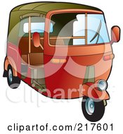 Royalty Free RF Clipart Illustration Of A Red 3 Wheeler Tuk Tuk by Lal Perera