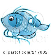 Royalty Free RF Clipart Illustration Of A Blue Koi Fish Swimming by Lal Perera