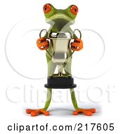 Royalty Free RF Clipart Illustration Of A 3d Springer Frog Facing Front With A Trophy In His Hands