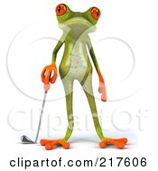Royalty Free RF Clipart Illustration Of A 3d Springer Frog Facing Front And Standing With A Golf Club