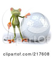 Royalty Free RF Clipart Illustration Of A 3d Springer Frog Beside A Large Golf Ball