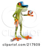 Royalty Free RF Clipart Illustration Of A 3d Springer Frog Facing Right And Looking At A Golf Ball