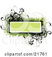 Clipart Picture Illustration Of A Green Text Box With Black And Green Flowers Circles And Vines On A White Background