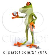 Royalty Free RF Clipart Illustration Of A 3d Springer Frog Facing Left And Holding A Golf Ball