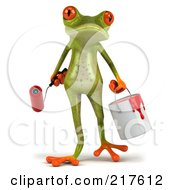 Royalty Free RF Clipart Illustration Of A 3d Springer Frog Carrying A Paint Roller And Can by Julos