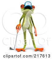 Royalty Free RF Clipart Illustration Of A 3d Springer Frog Wearing A Hat Facing Front And Standing With A Golf Club