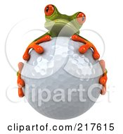 Royalty Free RF Clipart Illustration Of A 3d Springer Frog Facing Front And Hugging A Golf Ball