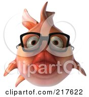 Royalty Free RF Clipart Illustration Of A 3d Pink Fish Wearing Glasses And Facing Front by Julos