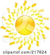 Royalty Free RF Clipart Illustration Of A Shiny Orange Hot Summer Sun Design Element 13