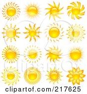 Royalty Free RF Clipart Illustration Of A Digital Collage Of Shiny Orange Hot Summer Sun Design Elements