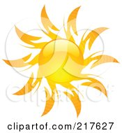 Royalty Free RF Clipart Illustration Of A Shiny Orange Hot Summer Sun Design Element 6