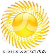 Royalty Free RF Clipart Illustration Of A Shiny Orange Hot Summer Sun Design Element 14