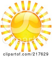 Royalty Free RF Clipart Illustration Of A Shiny Orange Hot Summer Sun Design Element 9