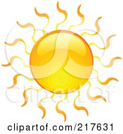 Royalty Free RF Clipart Illustration Of A Shiny Orange Hot Summer Sun Design Element 7