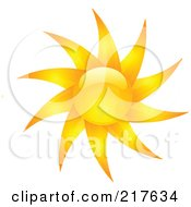 Royalty Free RF Clipart Illustration Of A Shiny Orange Hot Summer Sun Design Element 3