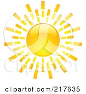 Royalty Free RF Clipart Illustration Of A Shiny Orange Hot Summer Sun Design Element 8