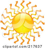 Royalty Free RF Clipart Illustration Of A Shiny Orange Hot Summer Sun Design Element 1