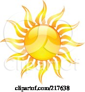 Royalty Free RF Clipart Illustration Of A Shiny Orange Hot Summer Sun Design Element