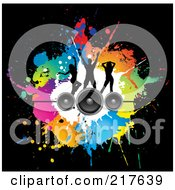 Royalty Free RF Clipart Illustration Of A Background Of Silhouetted Dancers On Speakers Over Colorful Splatters On Black by KJ Pargeter