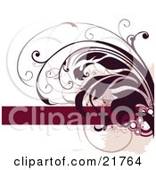 Clipart Picture Illustration Of A Deep Red Leafy Vine Curling Over A White Background With A Blank Red Bar For Text