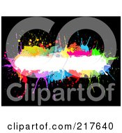 Royalty Free RF Clipart Illustration Of A White Text Bar Bordered In Colorful Splatters On Black