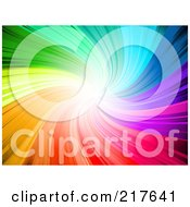 Royalty Free RF Clipart Illustration Of A Vibrant Rainbow Swirl Background With Bright Light At The End