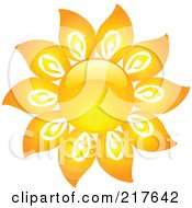 Royalty Free RF Clipart Illustration Of A Shiny Orange Hot Summer Sun Design Element 16 by KJ Pargeter