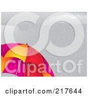 Royalty Free RF Clipart Illustration Of A Dreary Gray Sky Raining Down On A Vibrant Umbrella by elaineitalia