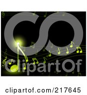 Royalty Free RF Clipart Illustration Of A Background Of Shining Green Notes Flowing On Black