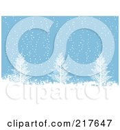Royalty Free RF Clipart Illustration Of A Blue Background Of Snow Falling On Bare Trees by elaineitalia
