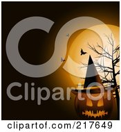 Royalty Free RF Clipart Illustration Of A Terrifying Halloween Jackolantern Pumpkin Wearing A Witch Hat By A Dead Tree Under Bats And A Full Moon by elaineitalia