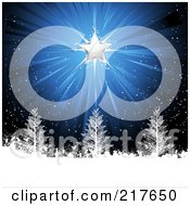 Royalty Free RF Clipart Illustration Of A Shining Silver Christmas Star On A Snowy Blue Background With Trees by elaineitalia