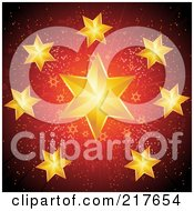 Royalty Free RF Clipart Illustration Of A Burst Of Golden Christmas Stars Over Red With Gold Speckles by elaineitalia
