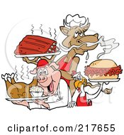 Royalty Free RF Clipart Illustration Of A Cow Holding Ribs Chicken Carrying A Pulled Pork Sandwich And Pig Carrying A Roasted Chicken by LaffToon