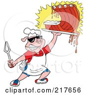 Royalty Free RF Clipart Illustration Of A Bbq Pig Carrying Dripping Ribs by LaffToon