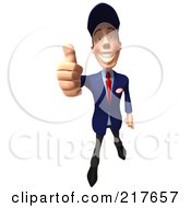Royalty Free RF Clipart Illustration Of A 3d Slender Mechanic Holding A Thumb Up