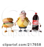 3d Chubby Burger Man Pouting And Holding Hands With A Cheeseburger And Soda
