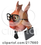 Royalty Free RF Clipart Illustration Of A 3d Pink Business Fish Facing Left