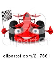 Royalty Free RF Clipart Illustration Of A 3d Red Formula One Race Car Facing Front And Waving And Holding A Checkered Flag by Julos