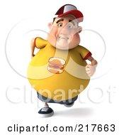 3d Chubby Burger Man Running Forward