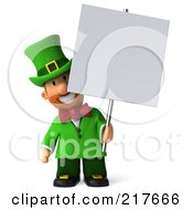 Royalty Free RF Clipart Illustration Of A 3d Leprechaun Man Smiling Behind A Blank Sign