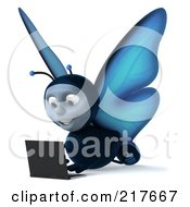 Royalty Free RF Clipart Illustration Of A 3d Blue Butterfly Using A Laptop On The Floor