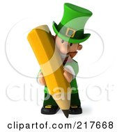 Royalty Free RF Clipart Illustration Of A 3d Leprechaun Man Facing Front And Using A Pencil