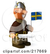 Royalty Free RF Clipart Illustration Of A 3d Viking Facing Right With A Swedish Flag