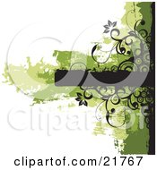 Clipart Picture Illustration Of A Blank Black Text Box With Green And Black Grunge Smears Flowers Circles And Vines On White