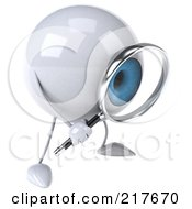 Royalty Free RF Clipart Illustration Of A 3d Blue Eyeball Character Facing Left And Looking Through A Magnifying Glass